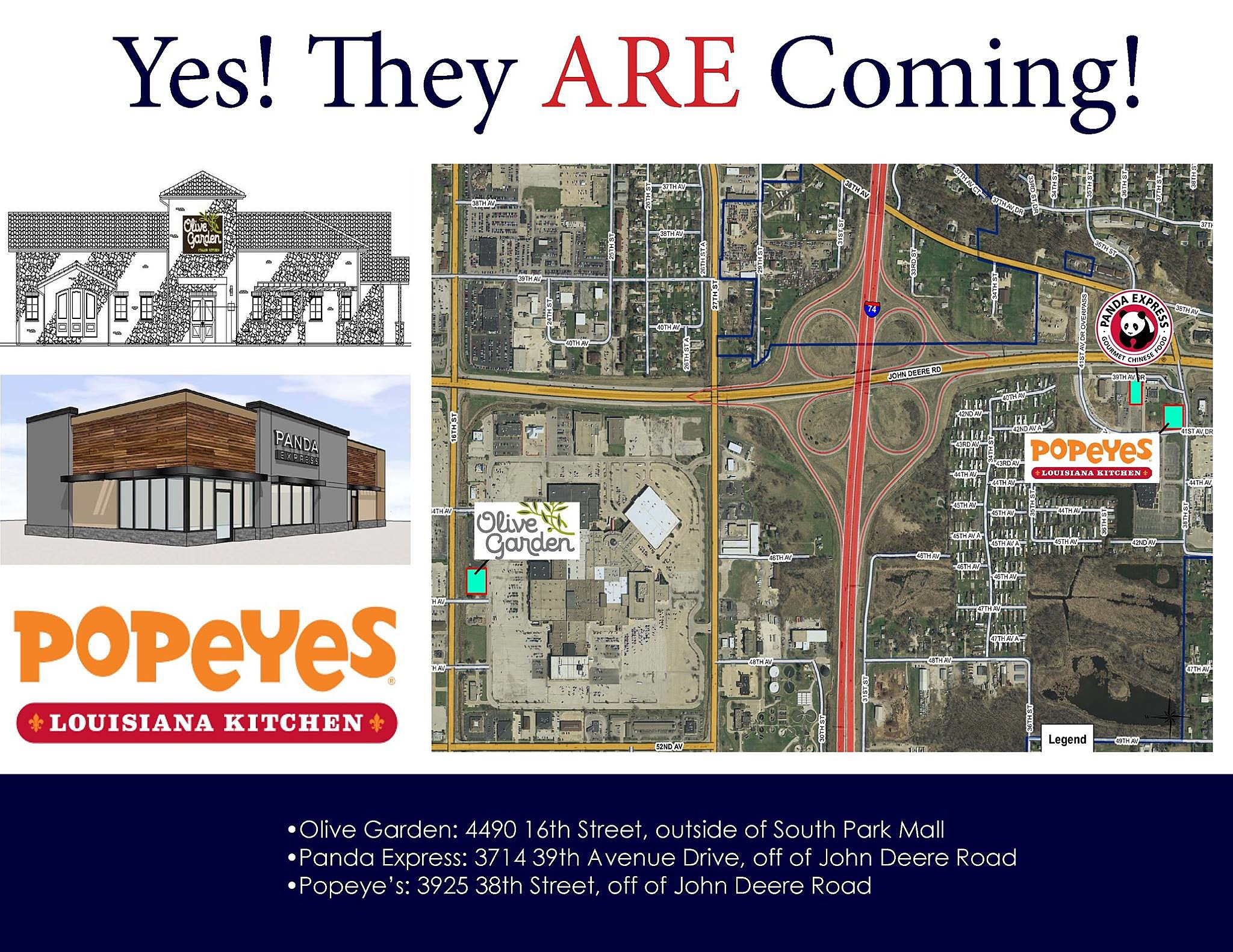 Popeyeu0027s, Olive Garden, Panda Express Coming To Moline