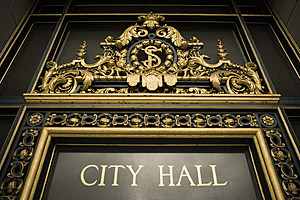 Low angle view of a signboard, City Hall, California, USA